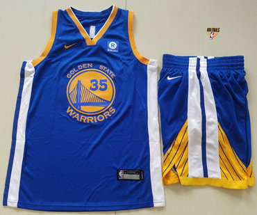 Nike Warriors #35 Kevin Durant Blue A Set The Finals Patch NBA Swingman Icon Edition Jersey