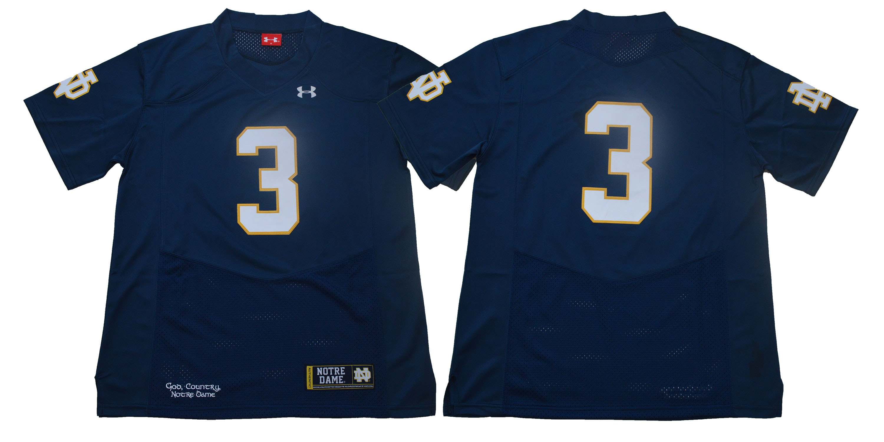 Notre Dame Fighting Irish #3 Blue Under Armour College Football Jersey