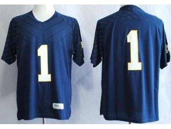 Notre Dame Fighting Irish 1 Louis Nix III Blue Techfit NCAA Jerseys