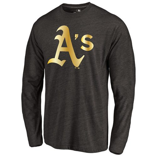 Oakland Athletics Gold Collection Long Sleeve Tri-Blend T-Shirt Black