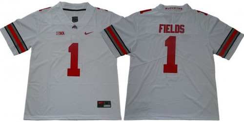 Ohio State Buckeyes 1 Justin Fields Limited College Football White Jersey