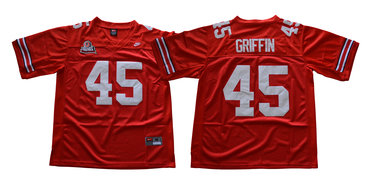 Ohio State Buckeyes 45 Archie Griffin Red Throwback College Football Jersey