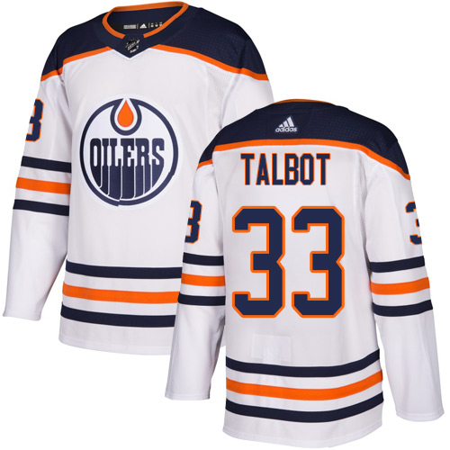 Oilers #33 Cam Talbot White Road Authentic Stitched Hockey Jersey