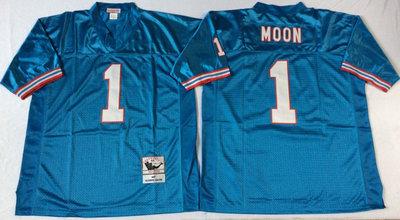 Oilers 1 Warren Moon Blue Throwback Jersey