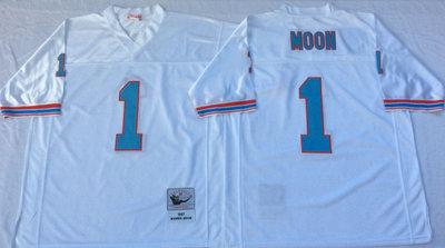 Oilers 1 Warren Moon White Throwback Jersey