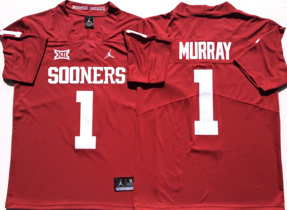 Oklahoma Sooners 1 Kyler Murray Red College Football Jersey