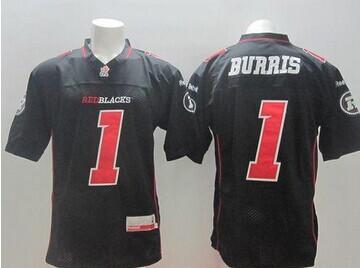 Ottawa Redblacks #1 Henry Burris Black Stitched CFL Jersey
