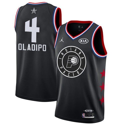 Pacers #4 Victor Oladipo Black Basketball Jordan Swingman 2019 All-Star Game Jersey