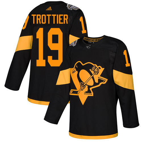 Penguins #19 Bryan Trottier Black Authentic 2019 Stadium Series Stitched Hockey Jersey