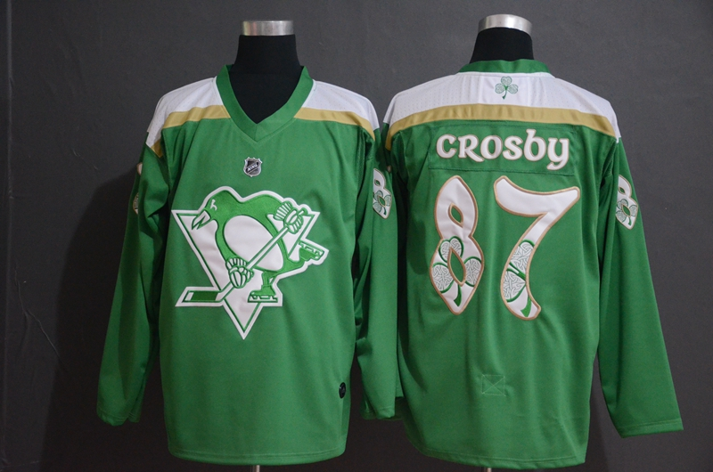 Penguins 87 Sidney Crosby Green 2019 St. Patrick's Day Adidas Jersey