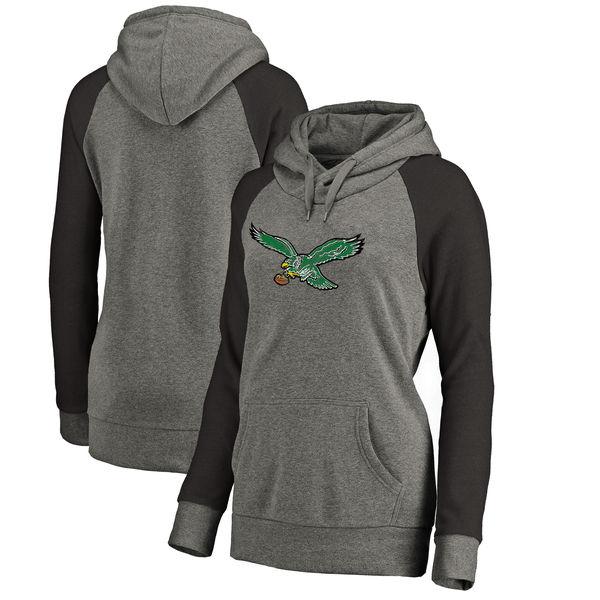 Philadelphia Eagles NFL Pro Line By Fanatics Branded Women's Throwback Logo Tri-Blend Raglan Plus Size Pullover Hoodie Gray Black