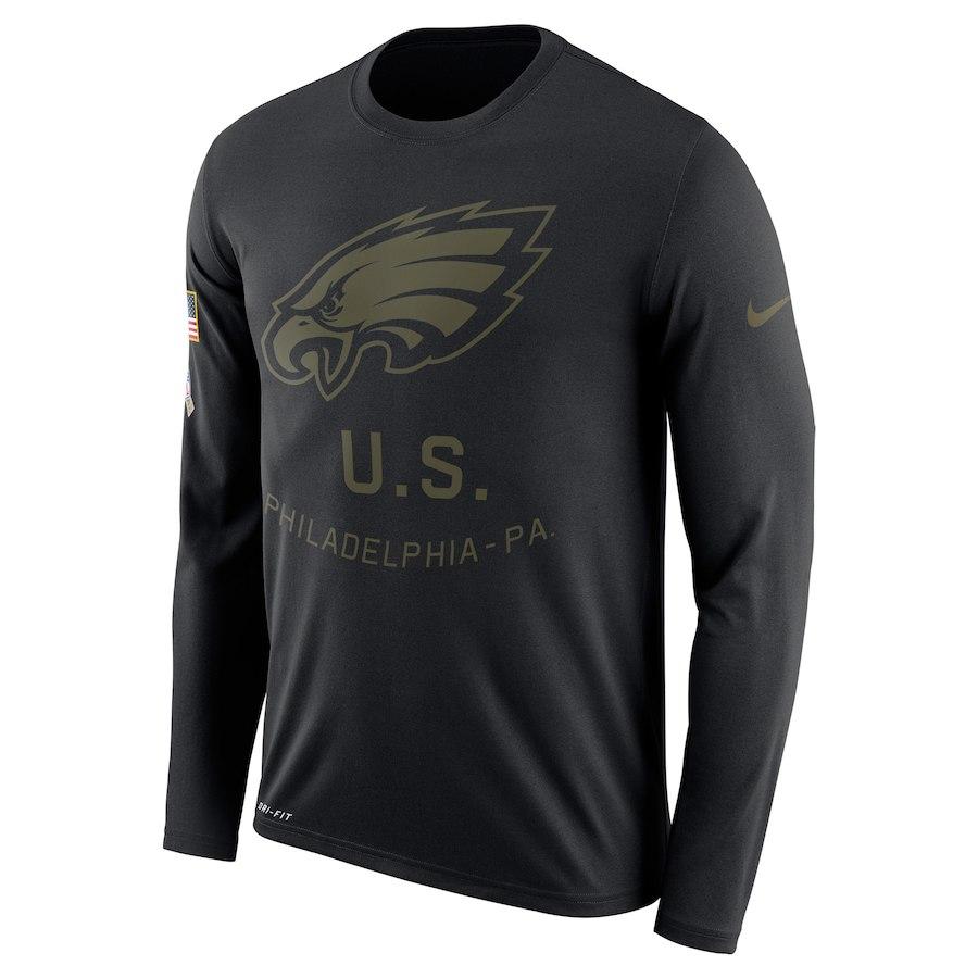 Philadelphia Eagles Nike Salute To Service Sideline Legend Performance Long Sleeve T-Shirt Black