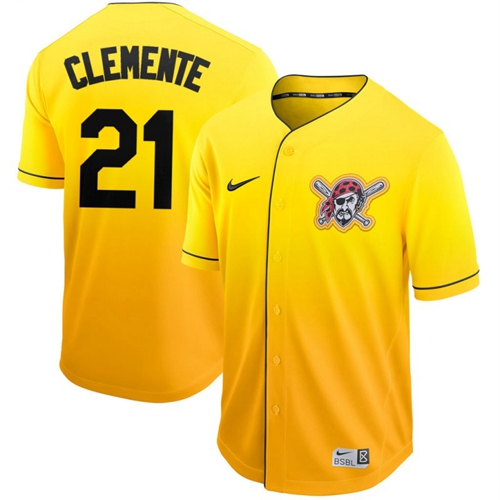Pirates #21 Roberto Clemente Gold Fade Authentic Stitched Baseball Jersey