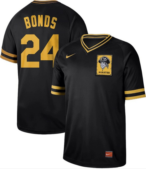 Pirates #24 Barry Bonds Black Authentic Cooperstown Collection Stitched Baseball Jersey