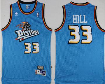 Pistons 33 Grant Hill Blue Hardwood Classics Jersey