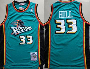 Pistons 33 Grant Hill Teal 1998-99 Hardwood Classics Jersey