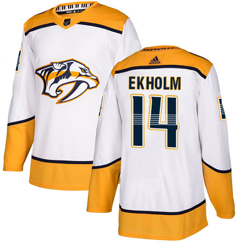 Predators #14 Mattias Ekholm White Road Authentic Stitched Hockey Jersey