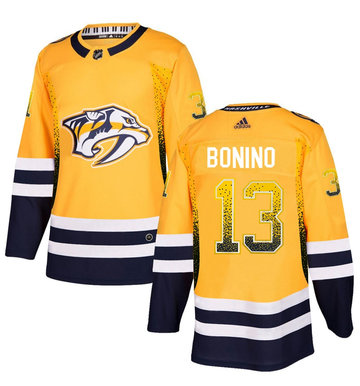 Predators 13 Nick Bonino Gold Drift Fashion Adidas Jersey