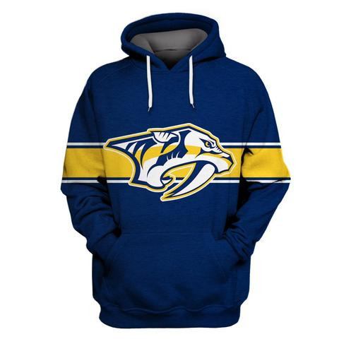 Predators Blue All Stitched Hooded Sweatshirt