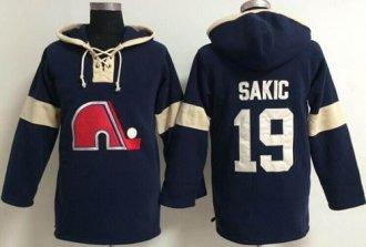 Quebec Nordiques #19 Joe Sakic Blue Pullover NHL Hoodie