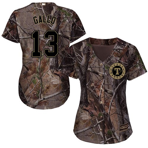 Rangers #13 Joey Gallo Camo Realtree Collection Cool Base Women's Stitched Baseball Jersey