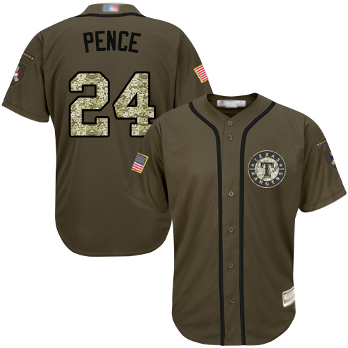 Rangers #24 Hunter Pence Green Salute to Service Stitched Youth Baseball Jersey