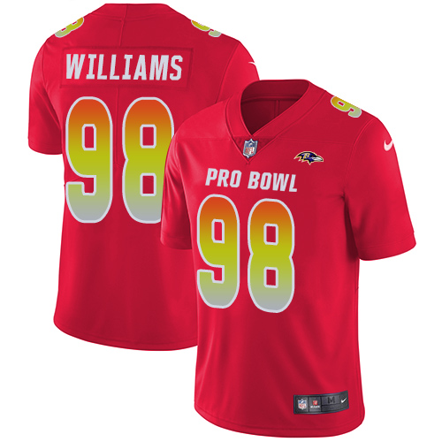 Ravens #98 Brandon Williams Red Youth Stitched Football Limited AFC 2019 Pro Bowl Jersey