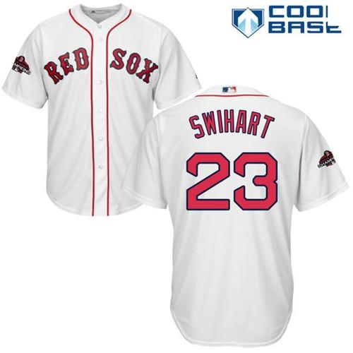 Red Sox #23 Blake Swihart White Cool Base 2018 World Series Champions Stitched Youth MLB Jersey
