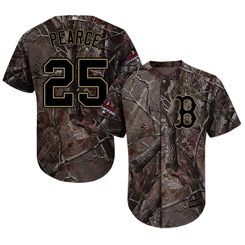 Red Sox #25 Steve Pearce Camo Realtree Collection Cool Base 2018 World Series Champions Stitched Youth MLB Jersey
