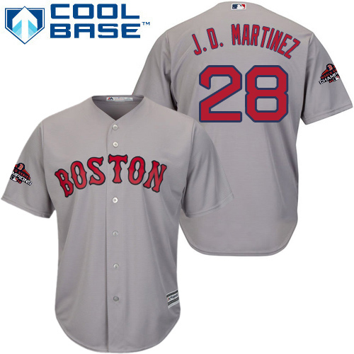 Red Sox #28 J. D. Martinez Grey Cool Base 2018 World Series Champions Stitched Youth MLB Jersey