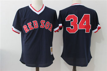 8564f856449 Red Sox 34 David Ortiz Navy Cooperstown Collection Mesh Batting Practice  Jersey