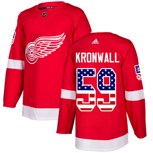 Red Wings #59 Niklas Kronwall Red Home Authentic USA Flag Stitched Hockey Jersey