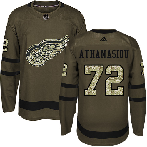 Red Wings #72 Andreas Athanasiou Green Salute to Service Stitched Hockey Jersey