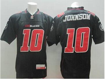 Redblacks #10 Kierrie Johnson Black CFL Jersey