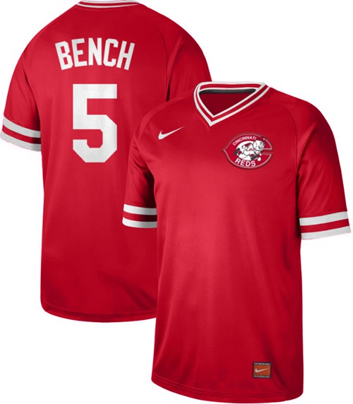 Reds #5 Johnny Bench Red Authentic Cooperstown Collection Stitched Baseball Jersey