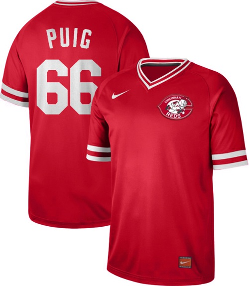 Reds #66 Yasiel Puig Red Authentic Cooperstown Collection Stitched Baseball Jersey