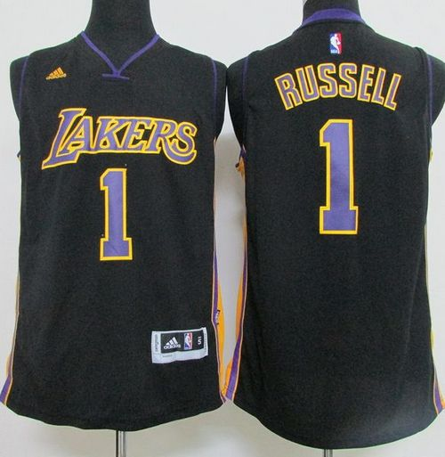 7150e4e1177 Revolution 30 Lakers  1 D Angelo Russell Black(Purple NO.) Hollywood Nights Stitched  NBA Jersey
