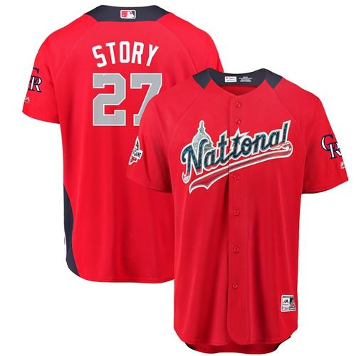 Rockies #27 Trevor Story Red 2018 All-Star National League Stitched Baseball Jersey