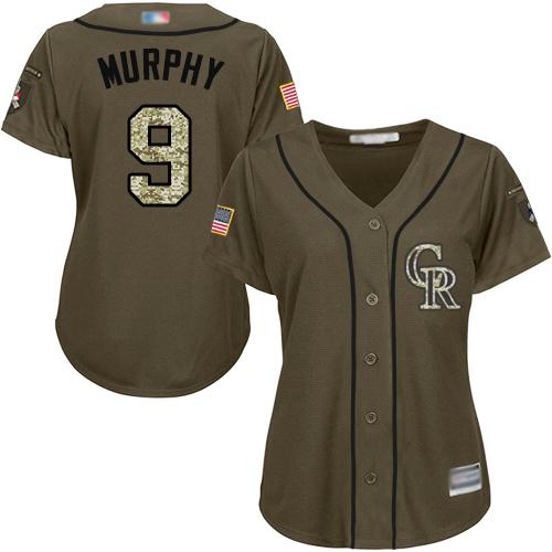 Rockies #9 Daniel Murphy Green Salute to Service Women's Stitched Baseball Jersey