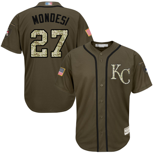 Royals #27 Raul Mondesi Green Salute to Service Stitched Youth Baseball Jersey