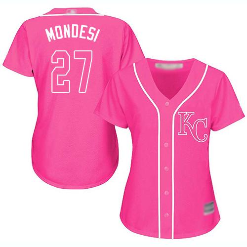 Royals #27 Raul Mondesi Pink Fashion Women's Stitched Baseball Jersey