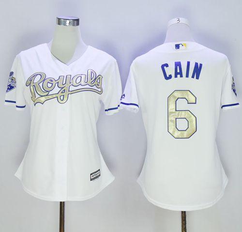 37bc1c0c959 Royals  6 Lorenzo Cain White 2015 World Series Champions Gold Program Cool  Base Women s Stitched