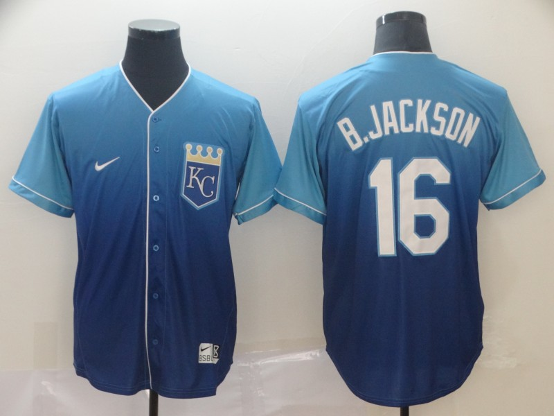 Royals 16 Bo Jackson Blue Drift Fashion Jersey