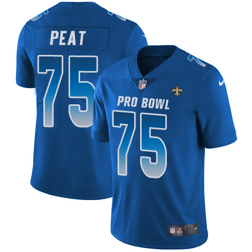 Saints #75 Andrus Peat Royal Youth Stitched Football Limited NFC 2019 Pro Bowl Jersey