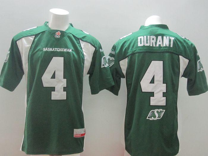 Saskatchewan Roughriders Durant #4 Green Jersey