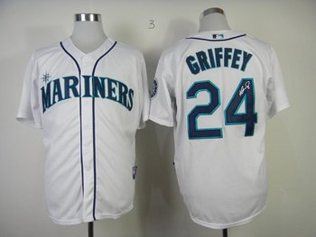 Seattle Mariners 24 Ken Griffey White Cool Base MLB Signed Jersey