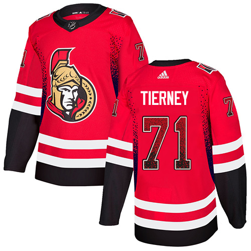 Senators #71 Chris Tierney Red Home Authentic Drift Fashion Stitched Hockey Jersey