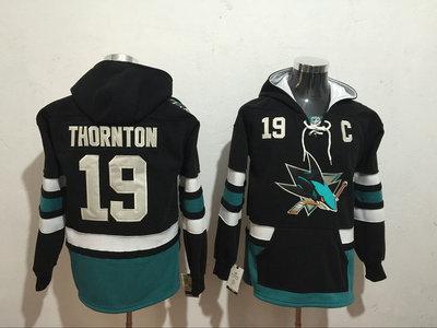Sharks 19 Joe Thornton Black All Stitched Hooded Sweatshirt