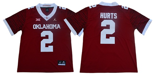 Sooners #2 Jalen Hurts Red Jordan Brand Limited New XII Stitched College Jersey