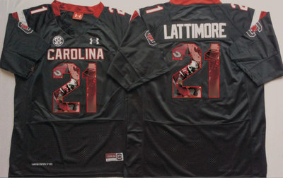 South Carolina Gamecocks 21 Marcus Lattimore Black Portrait Number College Jersey